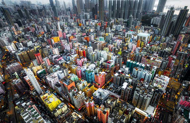 Hong Kong oblique aerial photography shot