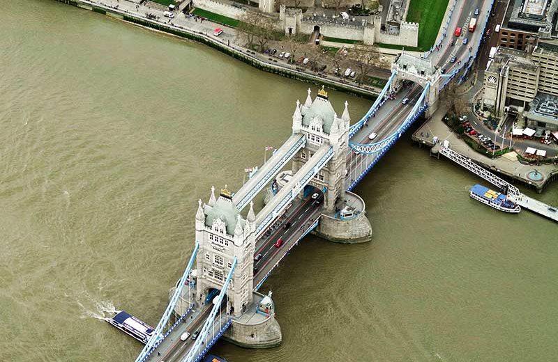 London Bridge oblique aerial photography shot